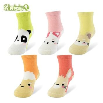 5 Pair/lot Kawaii Pattern Cotton Kids Socks Baby Breathable Boys Girls Socks For Children Sock 5 Kinds Style Suitable For 1-10Y
