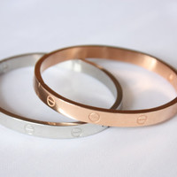 Rose Gold Colored Love Bracelet / Stainless Steel Women's Bangle /