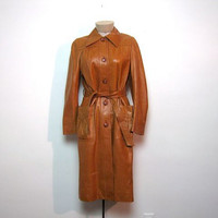STOREWIDE SALE... Vintage 1970s butternut leather trench coat