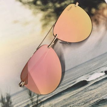 quay australia - the playa 64mm aviator sunglasses - gold/pink