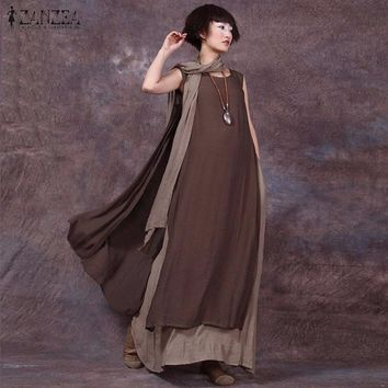 Maxi Dresses Vintage Casual Loose Sleeveless Dress Plus Size