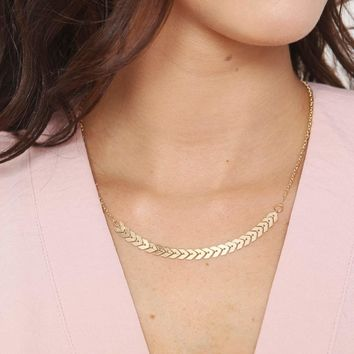 Gold Chevron Chain Necklace