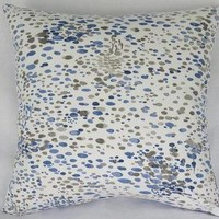 Blue Grey White Spotted Pillow Cover Duralee Spattered