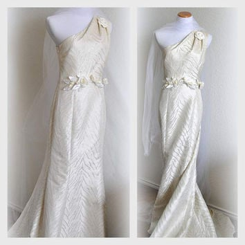 Grecian Wedding Dress Bridal Gown Floral One Shoulder Evening Dress Embellished Train Flare Skirt Long 1930s Hollywood Inspire