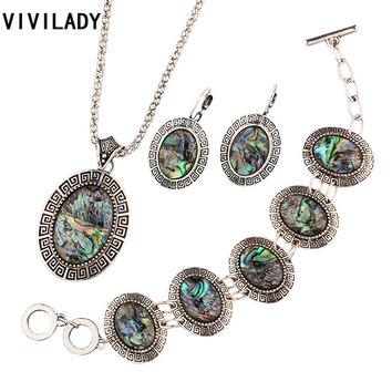 VIVILADY Hot Tibetan Silver Natural Abalone Shell Jewelry Sets Women Vintage Necklace Earrings Bracelet Bridal Party Bijoux Gift