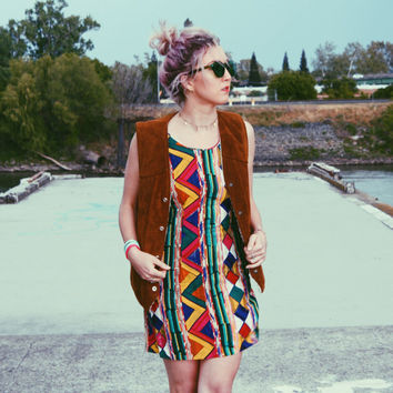 90's Colorful Funky Print Sleeveless Mini Dress by Jams World
