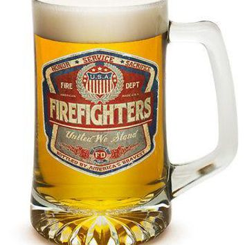 FIREFIGHTER- UNITED WE STAND- FADED DENIM- 25 OZ  LARGE TANKARD BEER GLASS