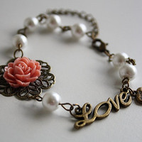 Antique rose love charm pearl bracelet with box vintage bronze heart filigree jewellery accessory flower cottage shabby chic romantic glam