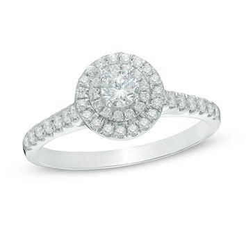 1/2 CT. T.W. DIAMOND DOUBLE FRAME ENGAGEMENT RING IN 10K WHITE GOLD