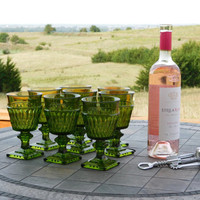 Green Glass Wine Goblet Set of 8