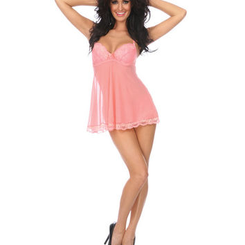 Sheer Babydoll W-lace Overlay & Molded Cups, Open Slit In Back Adjustable Straps & Panty Peach Sm