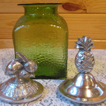 Unique vintage Green Glass Cookie Jar with 2 Lids