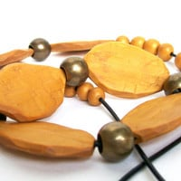 hand-carved chunky polymer clay necklace long mustard sunny yellow beads on a black leather cord - The Yellow beads one-of-a-kind