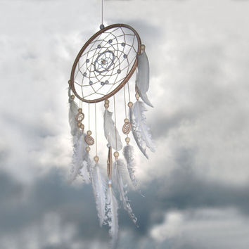 Beige Dream Catcher, Large dreamcatcher, White, Beige, home decor, boho dreamcatchers, sweet dreams, wall hanging, wedding decor