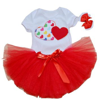 3PC Valentine's Day Outfit Bodysuit with Matching Red Tutu + Bow