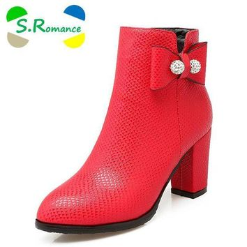DCK7YE S.Romance Women Ankle Boots Plus Size 34-43 Med Square Heel Zip Round Toe Classic Fash