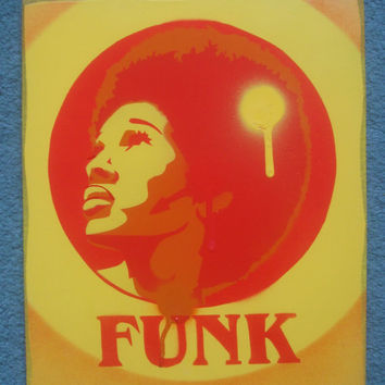Afro funk paintings,60s,stencil art,graffiti art,urban art,spray paints,power,music,soul,motown,afro America,hair,home,living,pop art,canvas