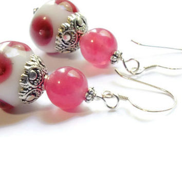 Cherry Quartz Earrings, Sterling Silver Earrings, Artisan Earrings, Gemstone Earrings