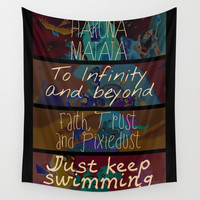 Movie quote collage Wall Tapestry by MyMickeyShapedHeart