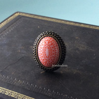 Coral Ring Orange Tile Spanish Exotic Mexican Chintz Statement Ring Vintage Antique Brass Bronze Carved Victorian Estate Gift Friendship
