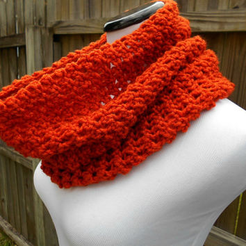 Pumpkin crochet cowl, womens orange infinity scarf, warm winter neck warmer, unisex crochet scarves, fashion circle scarf, fall accessory