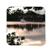 Fountain Sunset on the Lake Square Sticker