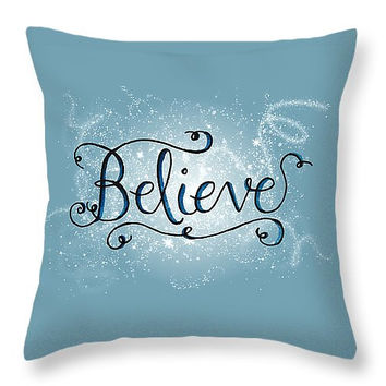 Holiday Pillows Inspirational Pillow Believe Pillow - Christmas Quotes Winter Pillows Blue Christmas Decor Seasonal Pillows Snowflake Decor