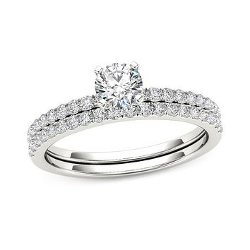 3/4 CT. T.W. Diamond Bridal Engagement Ring Set in 14K White Gold