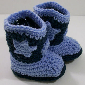 Baby Boy Cowboy Boots-Windsor Blue Crochet--Baby Shower Gift--#102--