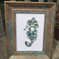 Seahorse picture - seashell seahorse - seahorse wall decor - beach decor - seashell decor - seahorse wall hanging - shell picture