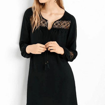 Creative Plus Size Lace Mosaic Long Sleeve One Piece Dress [4918660484]