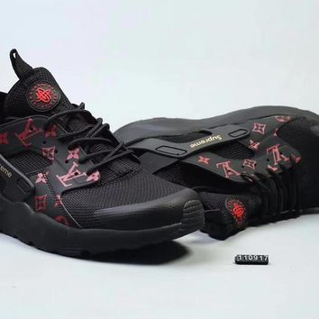 DCCK N285 Nike Huarache X Lv X Supreme Flyknit Running Shoes Black Red