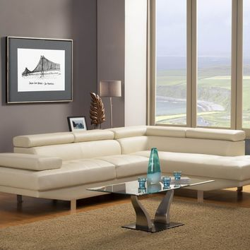 A.M.B. Furniture & Design :: Living room furniture :: Sofas and Sets :: Sectional Sofas :: 2 pc Warren Collection modern styling ivory bonded leather match sectional sofa set with adjustable headrests and arm