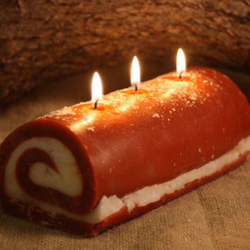 Pumpkin Roll Candle, Thanksgiving Desert Candle, 3 Wick Log Candle, Fall Decorations, Fake Food