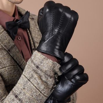 Genuine Leather Gloves For Mens Autumn Brand Black Touch Screen Sheepskin Gloves Fashion Slim Wrist Driving Gloves Mittens BM016