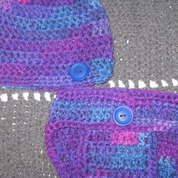 Grape Fizz Baby Diaper Cover and Baby Hat Set Newborn- 3 months