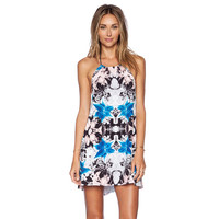 Collision Color Print Halter Mini Dress