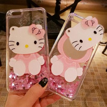 3D hello kitty For iPhone X case cute bling love liquid for iPhone 8 7 6 6s plus pink shell + hang neck strap for iphone 8 plus