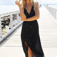 Strappy Slit Chiffon Beach Maxi Dress