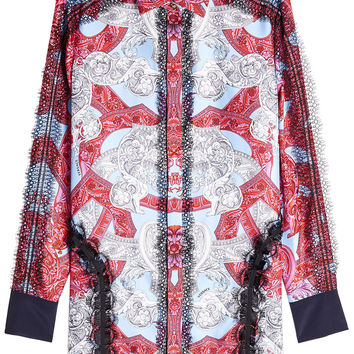 Printed Silk Blouse with Lace - Versace | WOMEN | KR STYLEBOP.COM