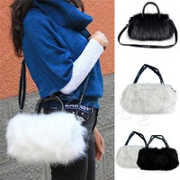 Luxury Special Winter Women Rabbi Hair Cute Furry Faux Fur Tote Shoulder Bag PURSE Stylish fluffy Cross Body Messenger Bag W1696