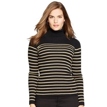 Lauren Ralph Lauren Plus Size Striped Turtleneck Sweater at Von Maur