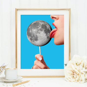 Moon print - Pop art poster - Lollipop art