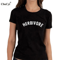 Herbivore T-shirt Funny Tumblr Blogger Slogan Women Vegan Clothes Black White Tee Shirt Femme Harajuku T Shirt
