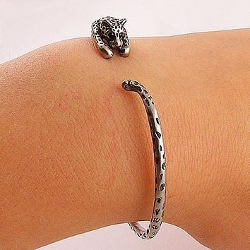 Animal Wrap Bracelet - Leopard - White Bronze