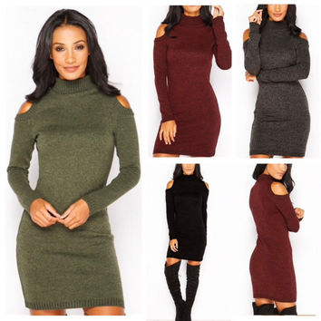 New Style Sexy Turtle Neck Cold Shoulder Women's Dresses Plus Size Knitted Solid Slim Bodycon Mini Dress Vestidos LX120