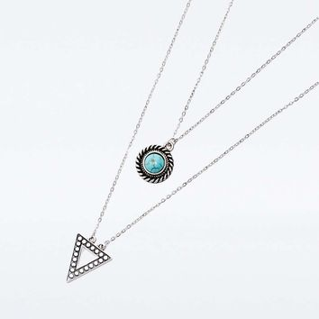 Turquoise Stone and Triangle Layering Necklace - Urban Outfitters