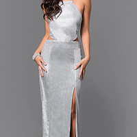 Floor-Length Silver Metallic Backless Prom Dress