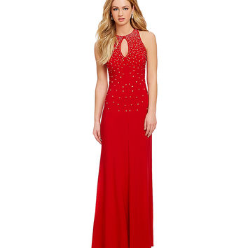 B. Darlin Heat Stone Strappy Back Gown | Dillards.com