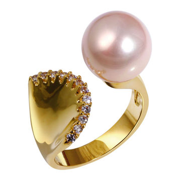 Pink Pearl Zircon Gold Plated Mermaid Style Ring